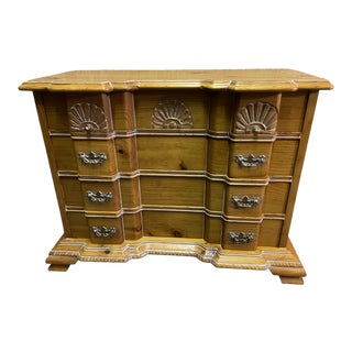 Vintage Signed Block Front Chippendale Style Solid Pine Chest of Drawers For Sale