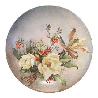 19th Century French Hand Painted Porcelain Charger Signed and Dated Minreal 1889 For Sale