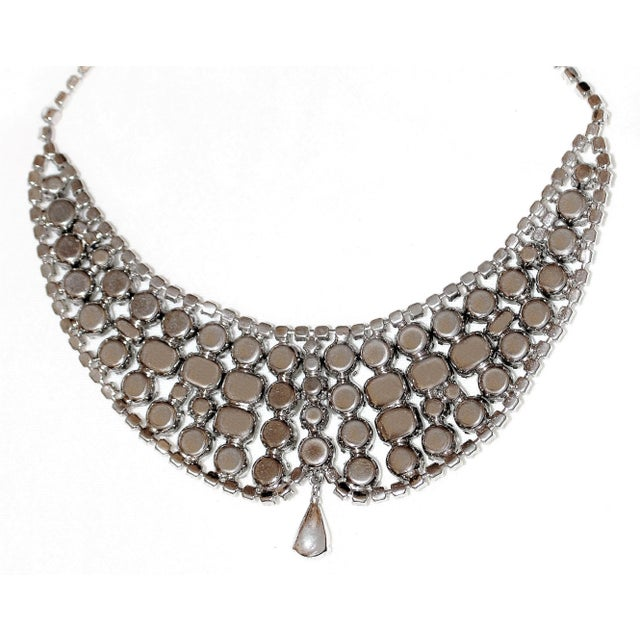 1950s 1950s Clear Faceted Crystal Cocktail Necklace For Sale - Image 5 of 7