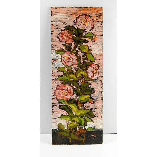 Abstract 1960's Modernist Pink Roses Oil Painting For Sale - Image 3 of 4