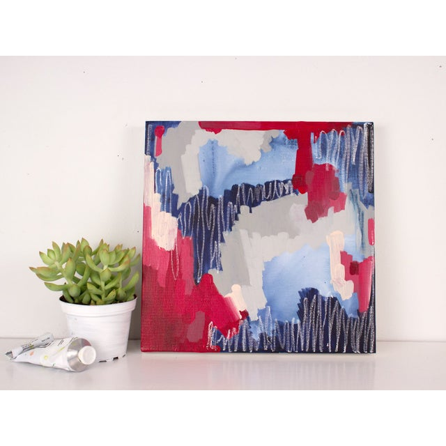 """Linda Colletta """"Rouge Et Bleu I"""" Abstract Painting - Image 3 of 3"""