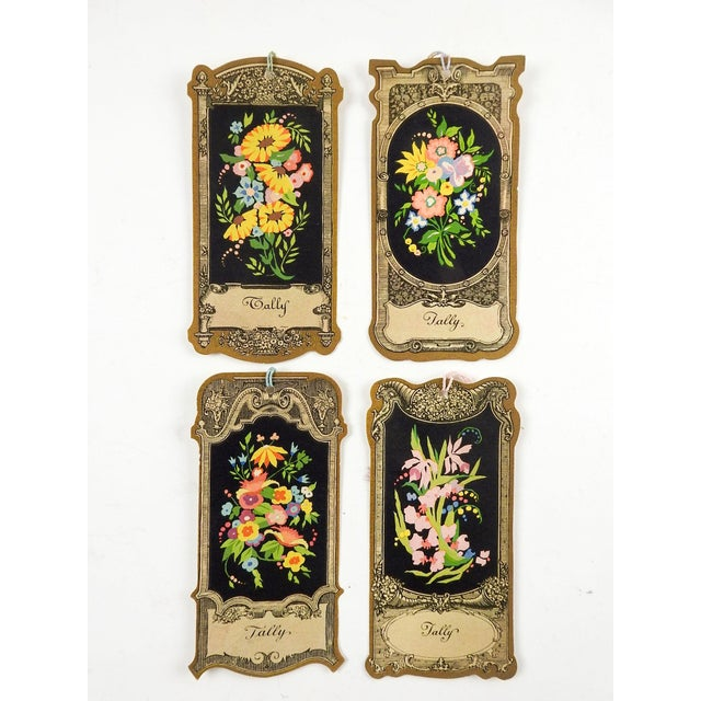1930s Die Cut Vintage 1930's Floral Baroque Bridge Tally Cards - Set of 4 For Sale - Image 5 of 5
