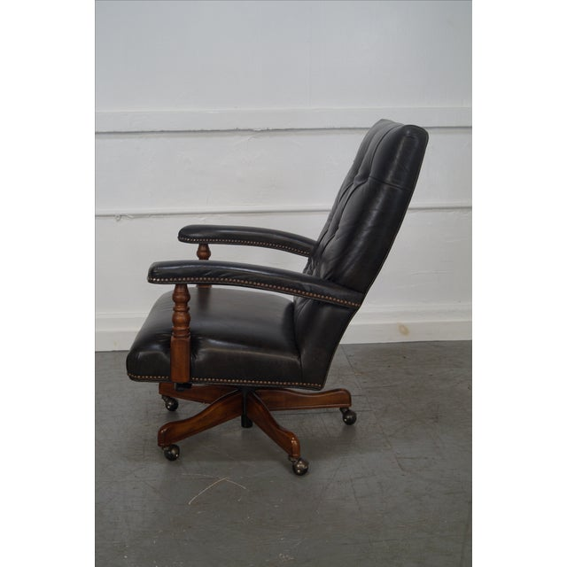 Tufted Leather Executive Office Arm Chair - Image 4 of 8