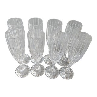 Vintage Lead Crystal Fluted Champagne Glasses - Set of 8 For Sale