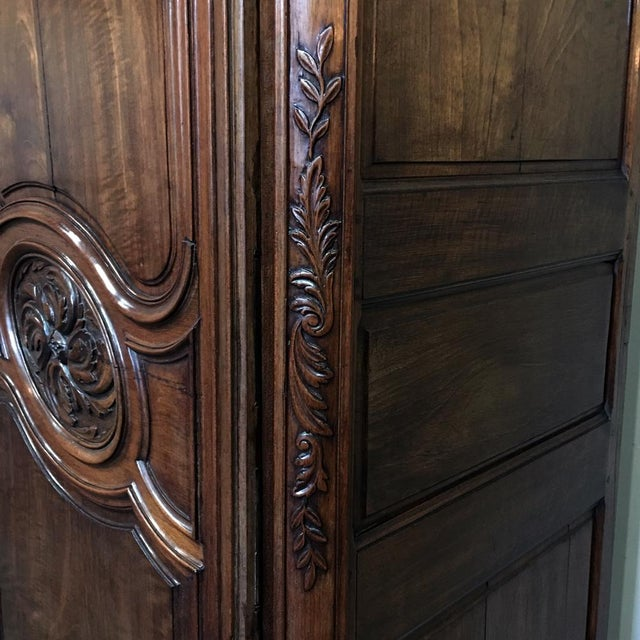 Walnut Grand 19th Century Country French Solid Walnut Armoire, Circa 1850 For Sale - Image 7 of 11