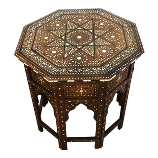 Anglo Indian Octagonal Side Table With Mother of Pearl Inlay For Sale