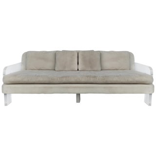 Large Ultrasuede Sofa With Lucite Arms and Support For Sale