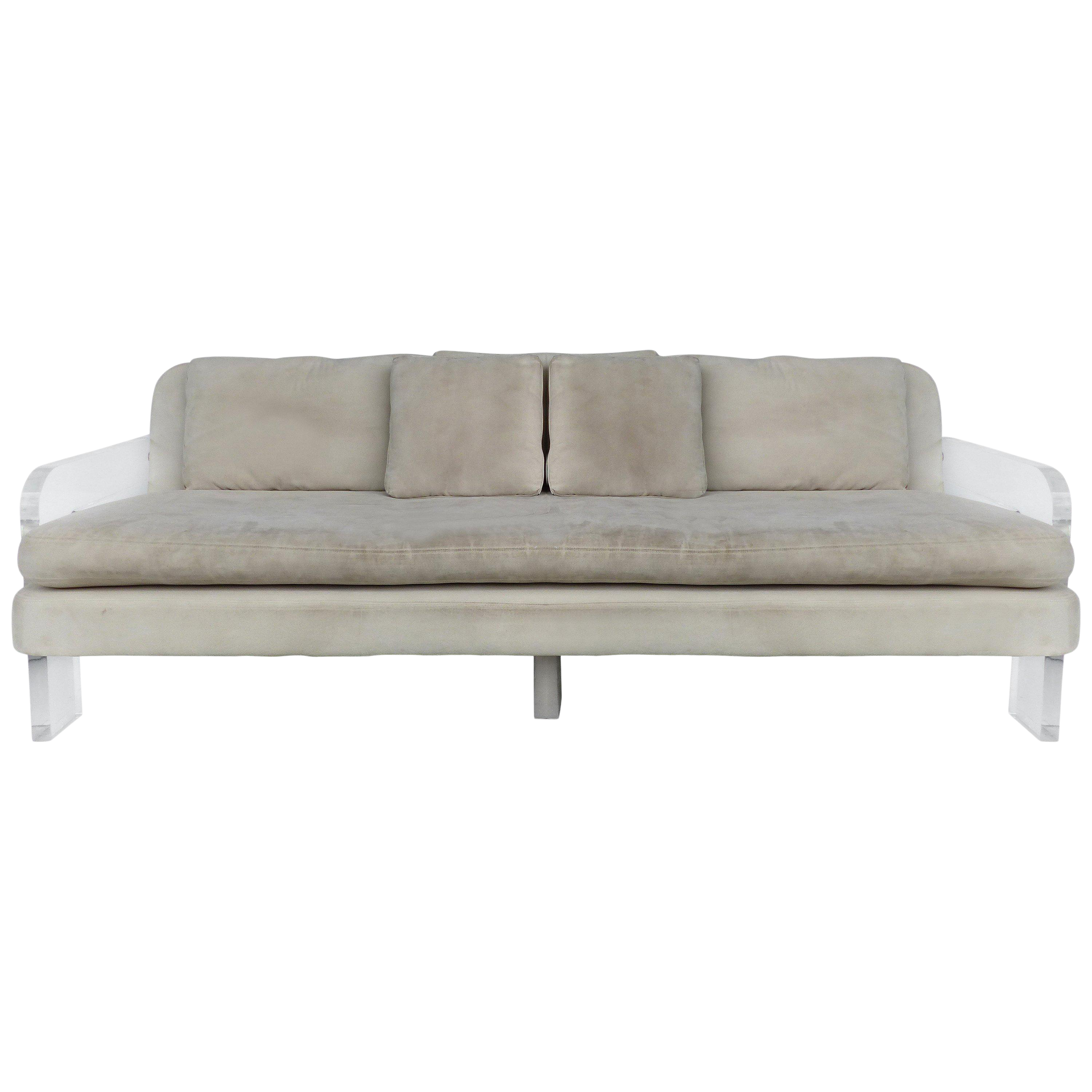 Superieur Large Ultrasuede Sofa With Lucite Arms And Support
