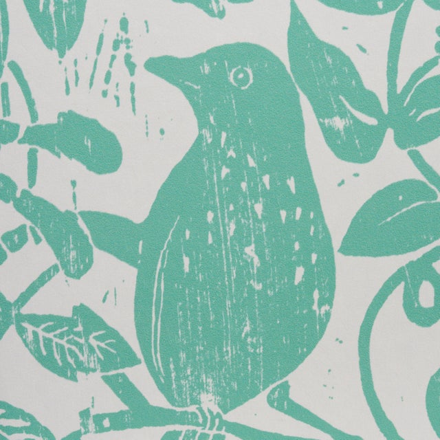 Schumacher Schumacher X Molly Mahon Bird & Bee Wallpaper in Seaglass For Sale - Image 4 of 5