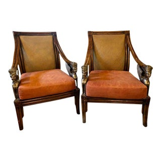 Rattan Armchairs Each With Full Bodied Silver Gilt Sphinxes - a Pair
