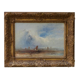19th Century English Seaside Oil on Canvas For Sale