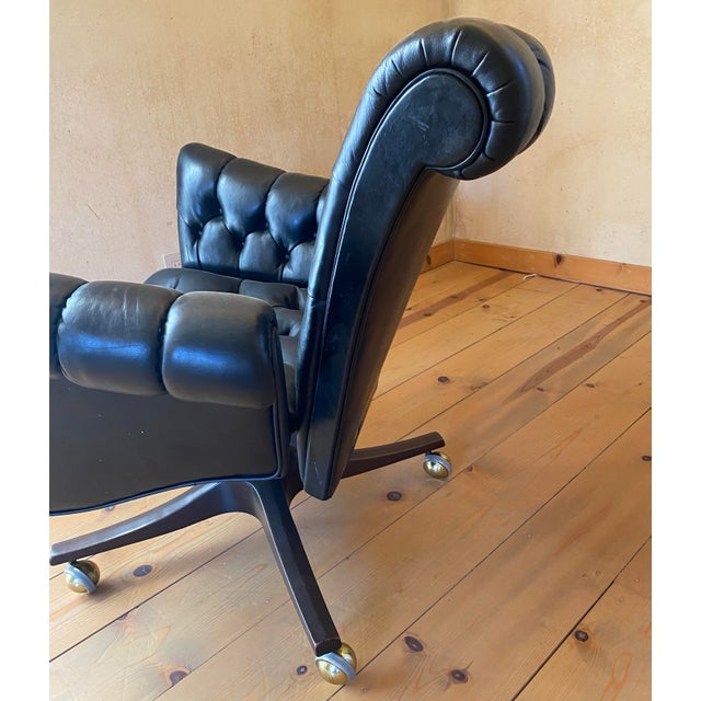 Edward Wormley Leather Desk Chair For Sale In San Francisco - Image 6 of 11