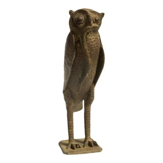 Large Owl with Snake in Mouth Vintage African Bronze Sculpture For Sale