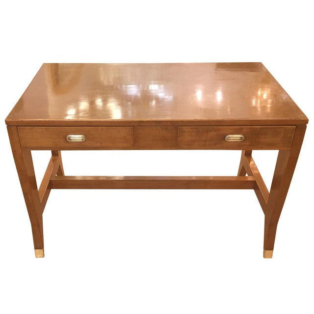 Beautiful walnut desk by Gio Ponti for the Banca Nazionale del Lavoro in Mantova. The handles and feet are brass. Has been...