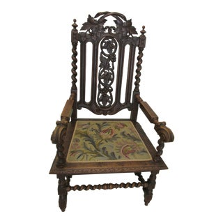 Jacobean Revival Throne Chair For Sale