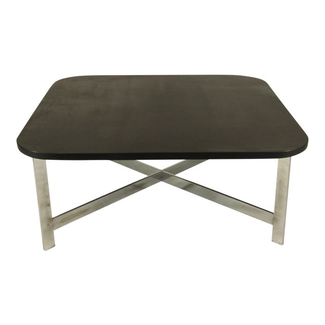 French Mid-Century Slate & Chrome Coffee Table For Sale