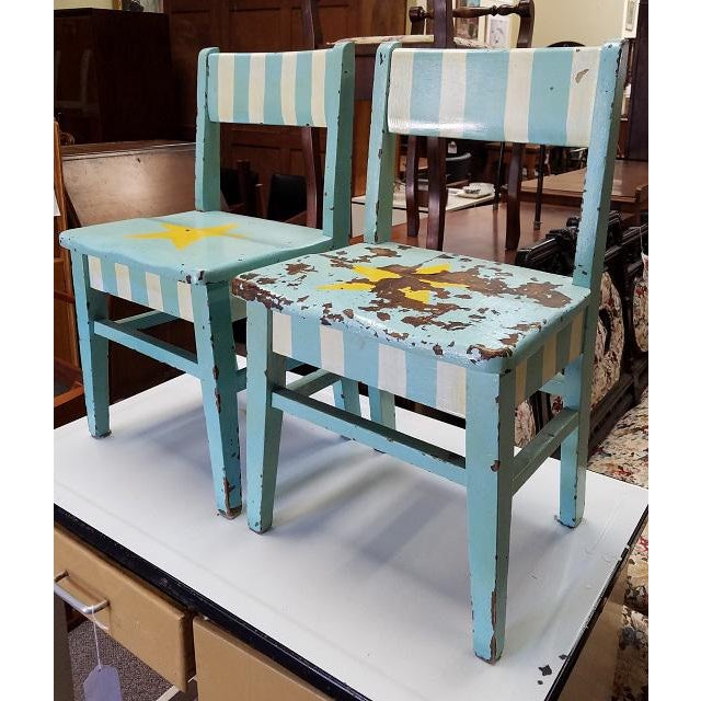 Children's Pair of Vintage Shabby Chic Painted Children's Chairs C.1930s For Sale - Image 3 of 4