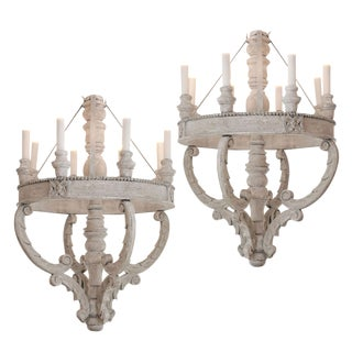 Large Painted Wooden Chandeliers For Sale