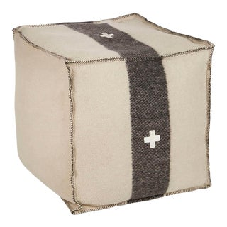 "Swiss Army Pouf, 24""X24""X24"", Cream/Black For Sale"