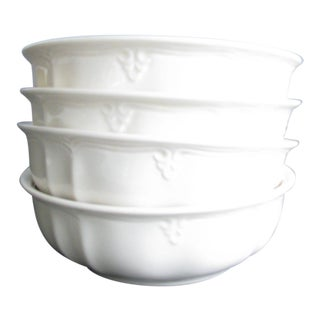 Late 20th Century Lenox Casual Elegance Cream Colored Bowls With Embossed Scroll Detail - Set of 4 For Sale