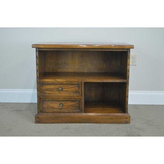 Romweber Romweber Viking Oak Bookcase 2 Drawer Side Table With Brass Inlaid Horseshoes For Sale - Image 4 of 13