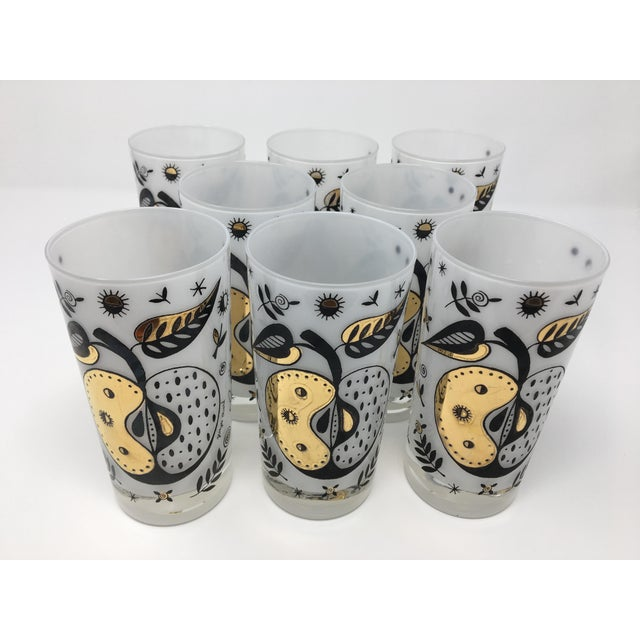 Gold 1960s Vintage Georges Briard Mid-Century Modern Forbidden Fruit Highball Glasses - Set of 8 For Sale - Image 8 of 8