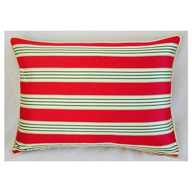 French Red, Cream & Green French Stripe Ticking Velvet Feather/Down Pillows - Pair For Sale - Image 3 of 6