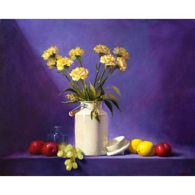 Yellow & Purple Still Life Oil Painting - Image 1 of 3