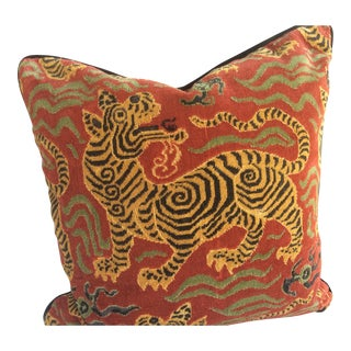 """Asian Clarence House Tibet Dragon 20"""" Down Pillow in Cinnabar For Sale"""