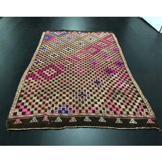 1960s Vintage Traditional Turkish Aztec Area Kilim Rug- 5′6″ × 8′9″ Preview