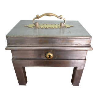 Late 19th Century Tea or Spice Chest on Stand With 3-Compartment Caddy For Sale