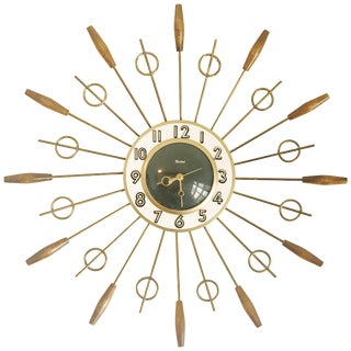 1950s United Brass Spindles Sunburst Clock For Sale