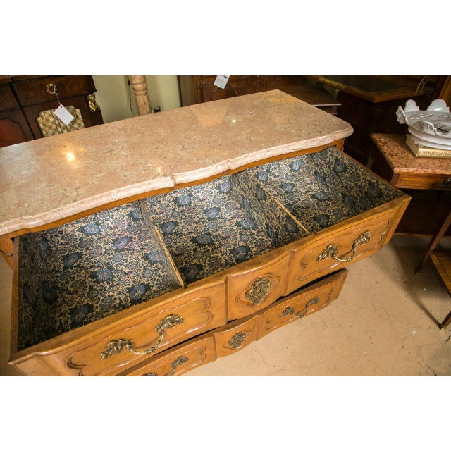 Brown Marble-Top Louis XV Style Commodes - A Pair For Sale - Image 8 of 10