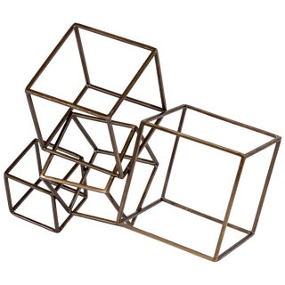 Cubist Brass Sculpture For Sale