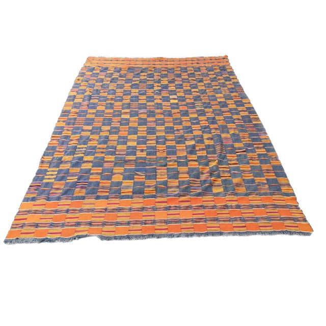 Vintage African Textile Kente Cloth Cotton Fabric / Blanket - Image 1 of 10