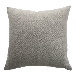 Italian FirmaMenta Eco-Friendly Neutral Herringbone Recycled Wool Pillow For Sale