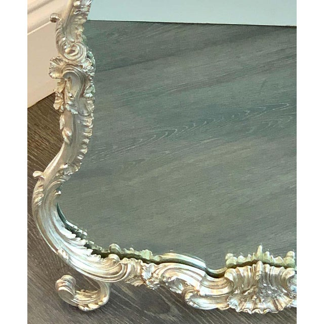 Glass French Silver Plated Dressing Mirror For Sale - Image 7 of 12