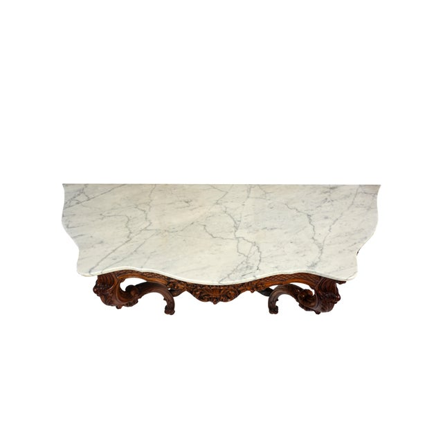 1900s French Wall Mounted Marble Console Table For Sale - Image 4 of 10