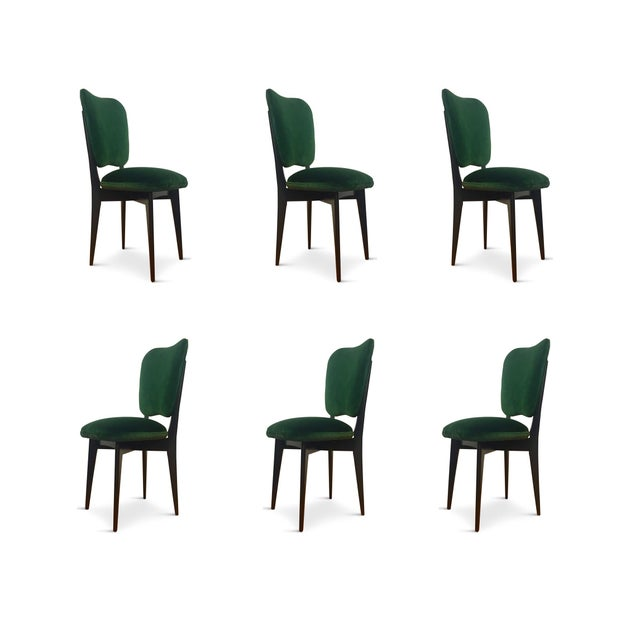 Wood 1960s Mid-Century Modern Green Upholstered Dining Chairs - Set of 6 For Sale - Image 7 of 8