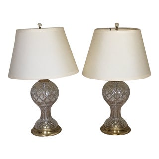 Modern Crystal Table Lamps - A Pair For Sale