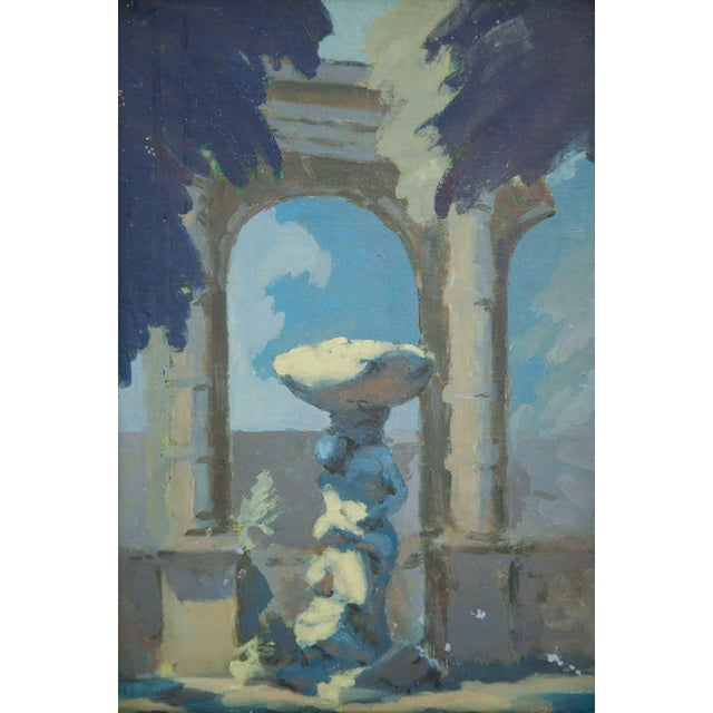 Introduce a classic feel to your living space with this antique oil on cardboard painting. This work depicts a figural...