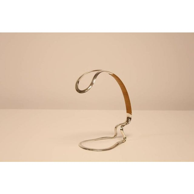 Vintage mid century silverplate wine bottle holder/server with raffia wrapped handle. Made in Germany. The Eisenberg-...