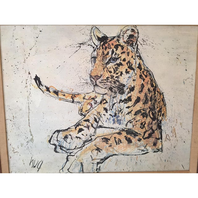 1970s Vintage Leopard Lithograph on Canvas - Image 6 of 10