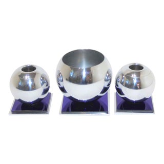 Art Deco 1930s Dark Cobalt Blue & Chrome Candle Holder & Vase Set by Russel Wright for Chase Usa -Set of 3 For Sale
