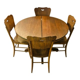1900s Antique Mission Quarter-Sawn Tiger Oak Dining Set - 5 Pieces For Sale