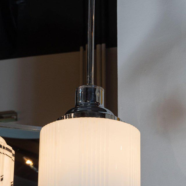 Art Deco Machine Age Skyscraper Style Chrome & Opaque / Pressed Glass Pendant For Sale - Image 4 of 10