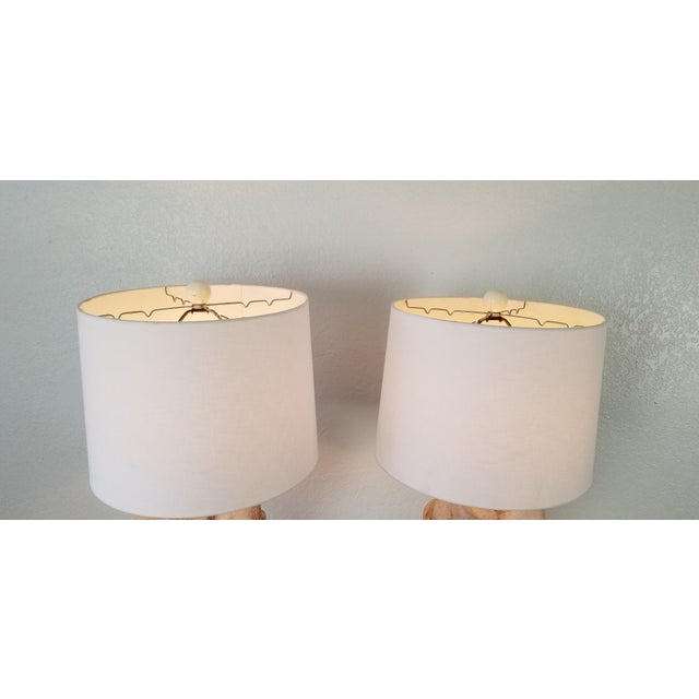 Beige John Dickinson Style Sculptural Draped Plaster Floor Lamps - a Pair For Sale - Image 8 of 13