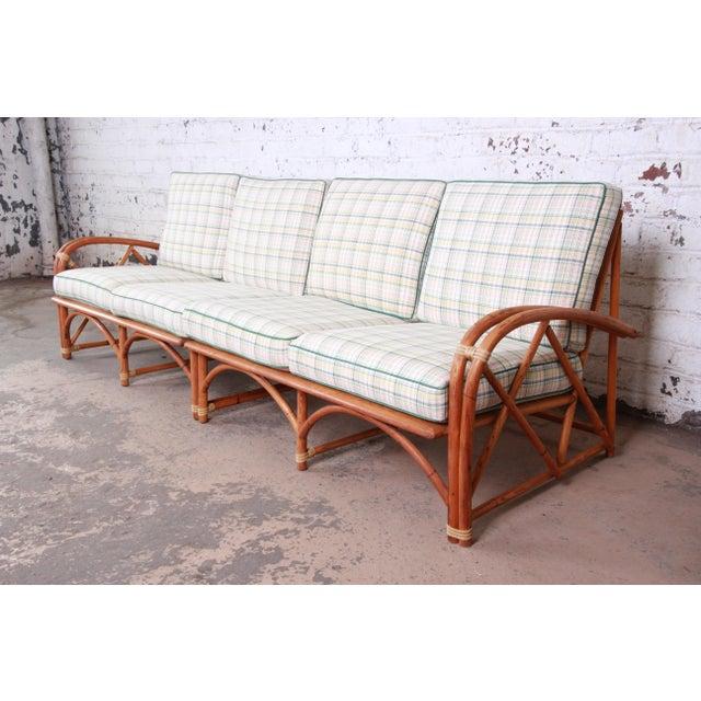 Heywood Wakefield Hollywood Regency Mid-Century Modern Rattan Sofa For Sale - Image 13 of 13