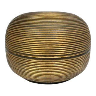 Japanese Ceramic Gilded Gold Black Lidded Container Dome Shape Art Deco Style Box Asian