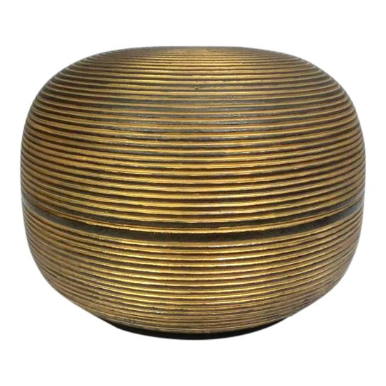 Japanese Ceramic Gilded Gold Black Lidded Container Dome Shape Art Deco Style Box Asian For Sale